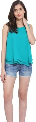 Ama Bella Casual Sleeveless Solid Women's Green Top