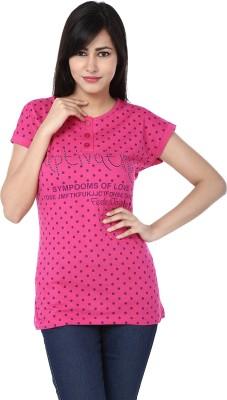 Adhaans Casual Short Sleeve Printed Women's Pink Top