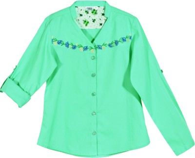 Caca Cina Casual Roll-up Sleeve Embroidered Girl,s Green Top