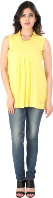 Dovekie Casual Sleeveless Solid Women's Yellow Top