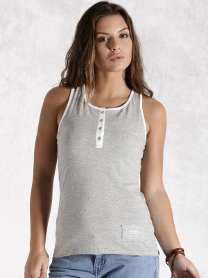 Roadster Casual Sleeveless Solid Women's Grey Top