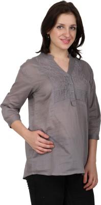 Shopaholic Casual 3/4 Sleeve Solid Women's Grey Top