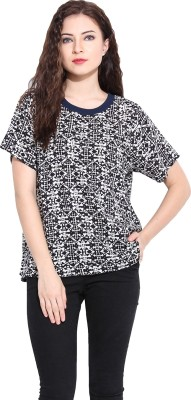 Paprika Casual Short Sleeve Printed Women,s White, Black Top
