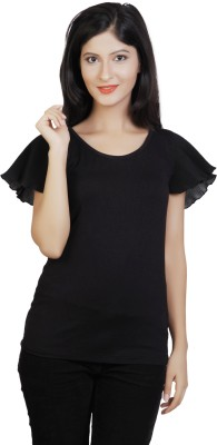 Neotrendz Casual Butterfly Sleeve Solid Women's Black Top