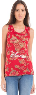Flying Machine Casual Sleeveless Printed Women's Red Top