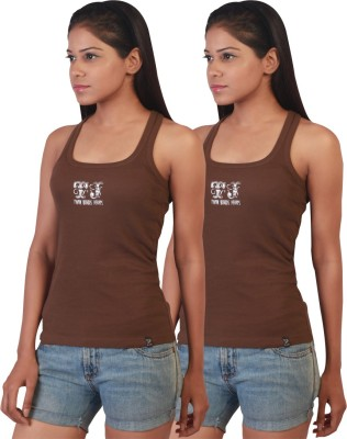 Twin Birds Casual Sleeveless Solid Women's Brown Top