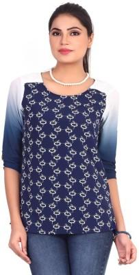 Pink Nine Casual 3/4 Sleeve Geometric Print, Embellished Women's Blue Top