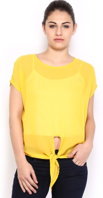 HRX by Hrithik Roshan Casual Short Sleeve Solid Women's Yellow Top at flipkart