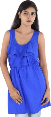 Megha Casual Sleeveless Solid Women,s Blue Top