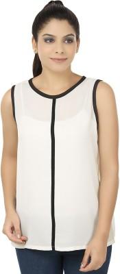 Elmo Casual Sleeveless Solid Women's White Top