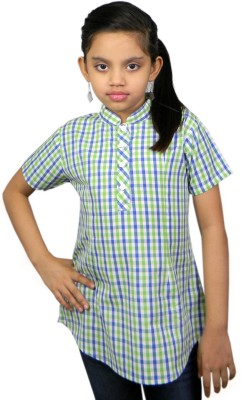 SSMITN Casual Short Sleeve Checkered Girls Blue Top