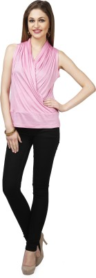 Glam & Luxe Casual Sleeveless Solid Women's Pink Top