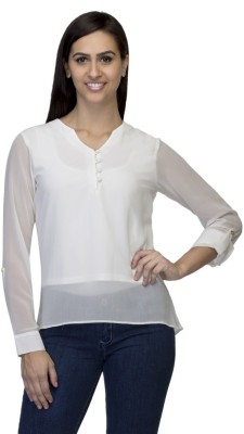 DRESSING DADDY Casual 3/4 Sleeve Solid Women's White Top