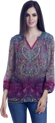 MansiCollections Casual Full Sleeve Printed Women's Multicolor Top