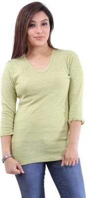 The Clove Casual 3/4 Sleeve Striped Women's Green, White Top