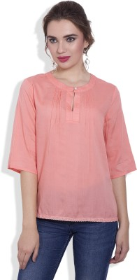 Pear Blossom Casual 3/4 Sleeve Solid Women's Pink Top