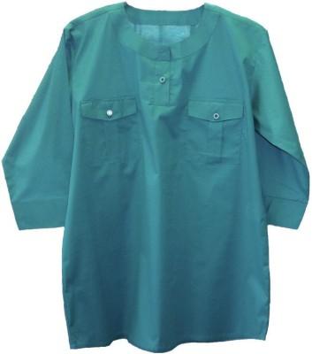 Ovzia Casual 3/4 Sleeve Solid Women's Light Green Top