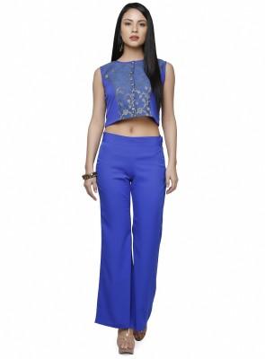 Abhishti Festive Sleeveless Self Design Women's Blue Top