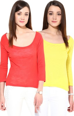 Trend18 Casual 3/4 Sleeve Solid Women's Multicolor Top