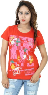 Groviano Casual Short Sleeve Printed Women's Red Top