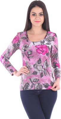 SS Casual Full Sleeve Floral Print Women's Purple Top
