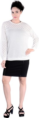 Divaz Fashion Casual, Party Full Sleeve Solid Women's White Top