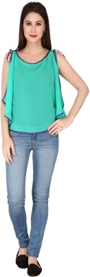 SOIE Casual Noodle strap Solid Women's Green Top