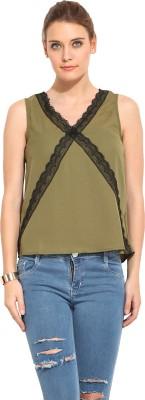 Rena Love Casual Sleeveless Solid Women's Green Top
