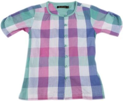 Gini & Jony Casual Short Sleeve Checkered Girl's Multicolor Top