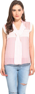 Instacrush Casual Sleeveless Striped Women,s Beige Top