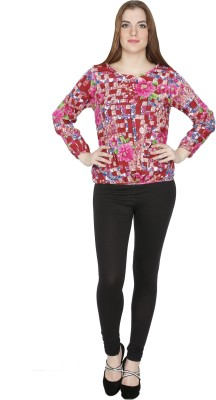 Famous by Payal Kapoor Casual Full Sleeve Geometric Print Women's Multicolor Top