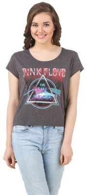 Pink Floyd Casual Short Sleeve Printed Women's Grey Top