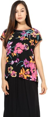 La Firangi Casual Sleeveless Printed Women's Black Top at flipkart