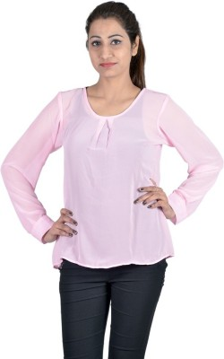 Indicot Casual, Party Full Sleeve Solid Women's Pink Top