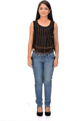 Instinct Casual, Festive Sleeveless Striped Women,s Black Top