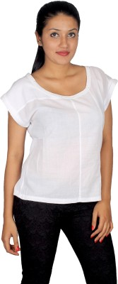 True Fashion Casual Short Sleeve Solid Women's White Top