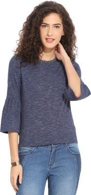 Northern Lights Casual 3/4 Sleeve Solid Women's Blue Top