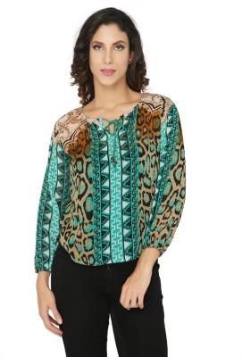 Philigree Casual Full Sleeve Animal Print Women,s Green Top