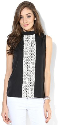 Popnetic Casual Sleeveless Solid Women's Black Top at flipkart