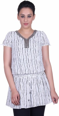 Sellsy Casual Short Sleeve Striped Women's White Top