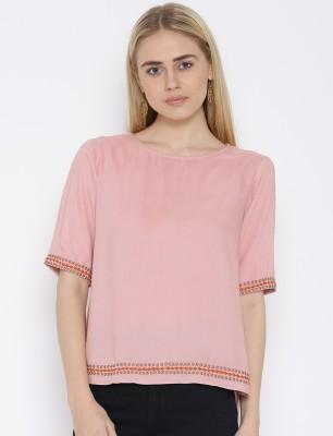 VAAK Casual Full Sleeve Solid Women's Pink Top