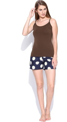 Rat Trap Casual Sleeveless Solid Women's Brown Top
