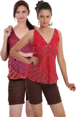 Indi Bargain Casual, Party, Formal, Beach Wear Sleeveless Printed, Floral Print Women's Red, Maroon Top