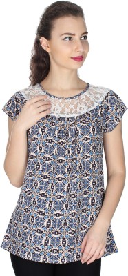 UVR Casual Cap sleeve Printed Women's Blue Top
