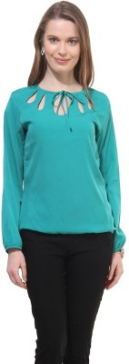 La Firangi Casual Full Sleeve Solid Women's Blue Top