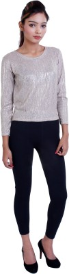 Ameri Lounge Wear 3/4 Sleeve Woven Women's Beige Top