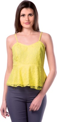 Miss Chase Party Sleeveless Solid Women's Yellow Top at flipkart