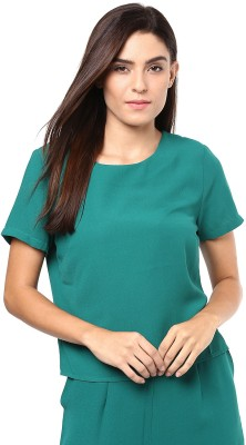 Harpa Casual Short Sleeve Solid Women's Green Top