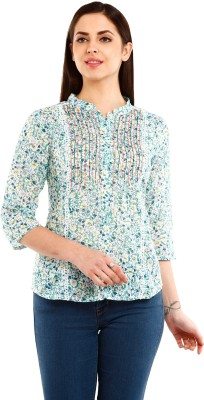 Mustard Casual 3/4 Sleeve Floral Print Women's Multicolor Top