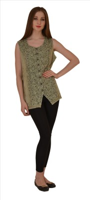 Skirts & Scarves Casual Sleeveless Embroidered Women's Green Top